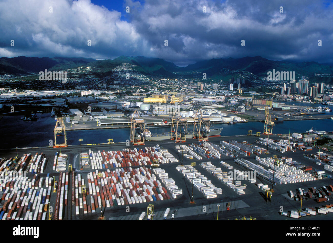 Port Of Honolulu >> An Aerial Photograph Of The Port Of Honolulu In Hawaii Stock Photo