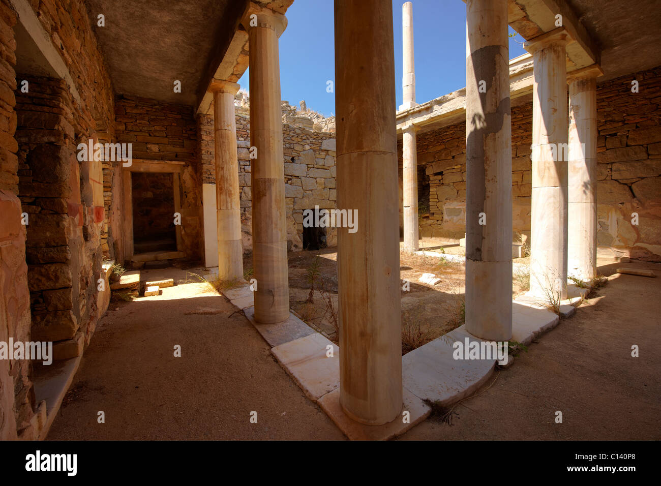 The ruins of the Greek Villa in the city of Delos, the birthplace of the twin gods Apollo and Artemis. Greek Cyclades - Stock Image