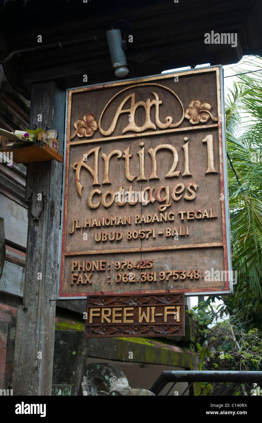 Sign oputside a Balinese home stay in Ubud, Bali, Indonesia - Stock Image