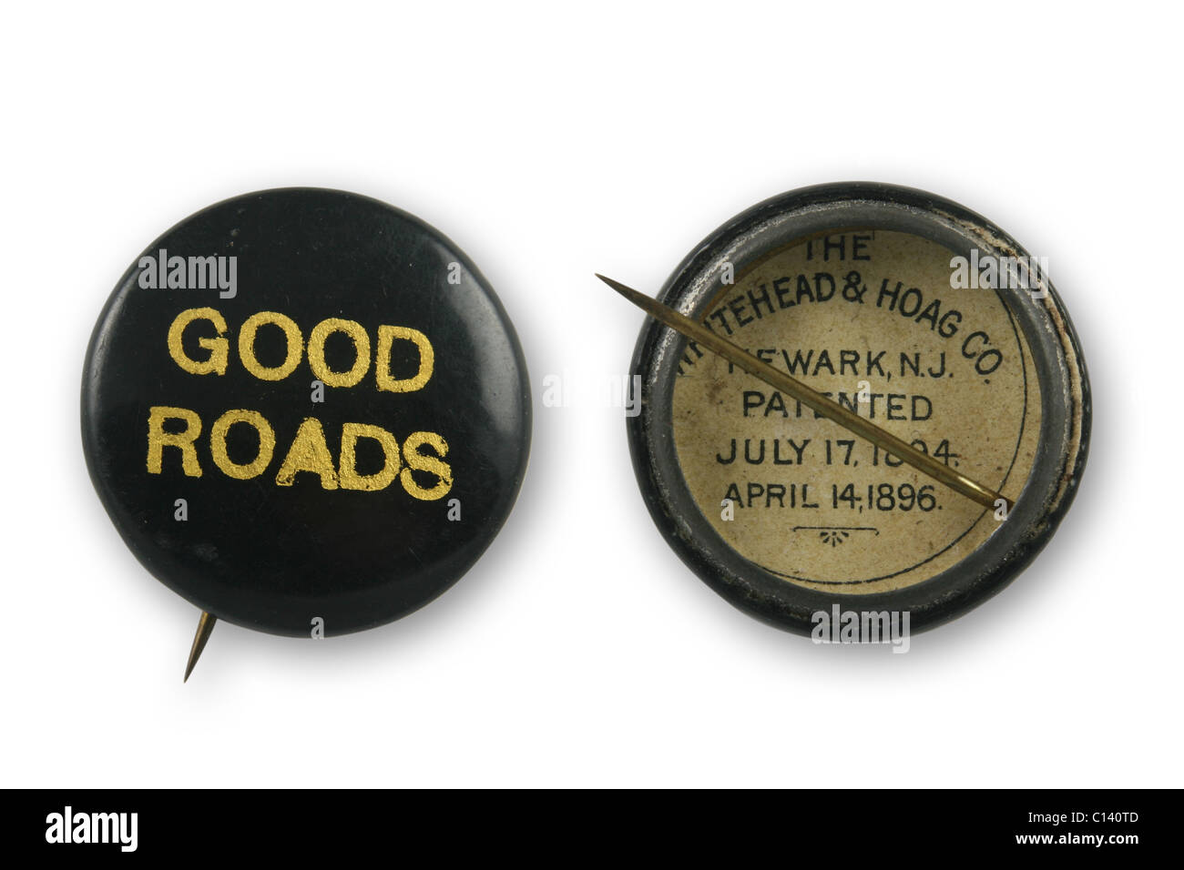 1896 Good Roads pin, front and back composite image. - Stock Image