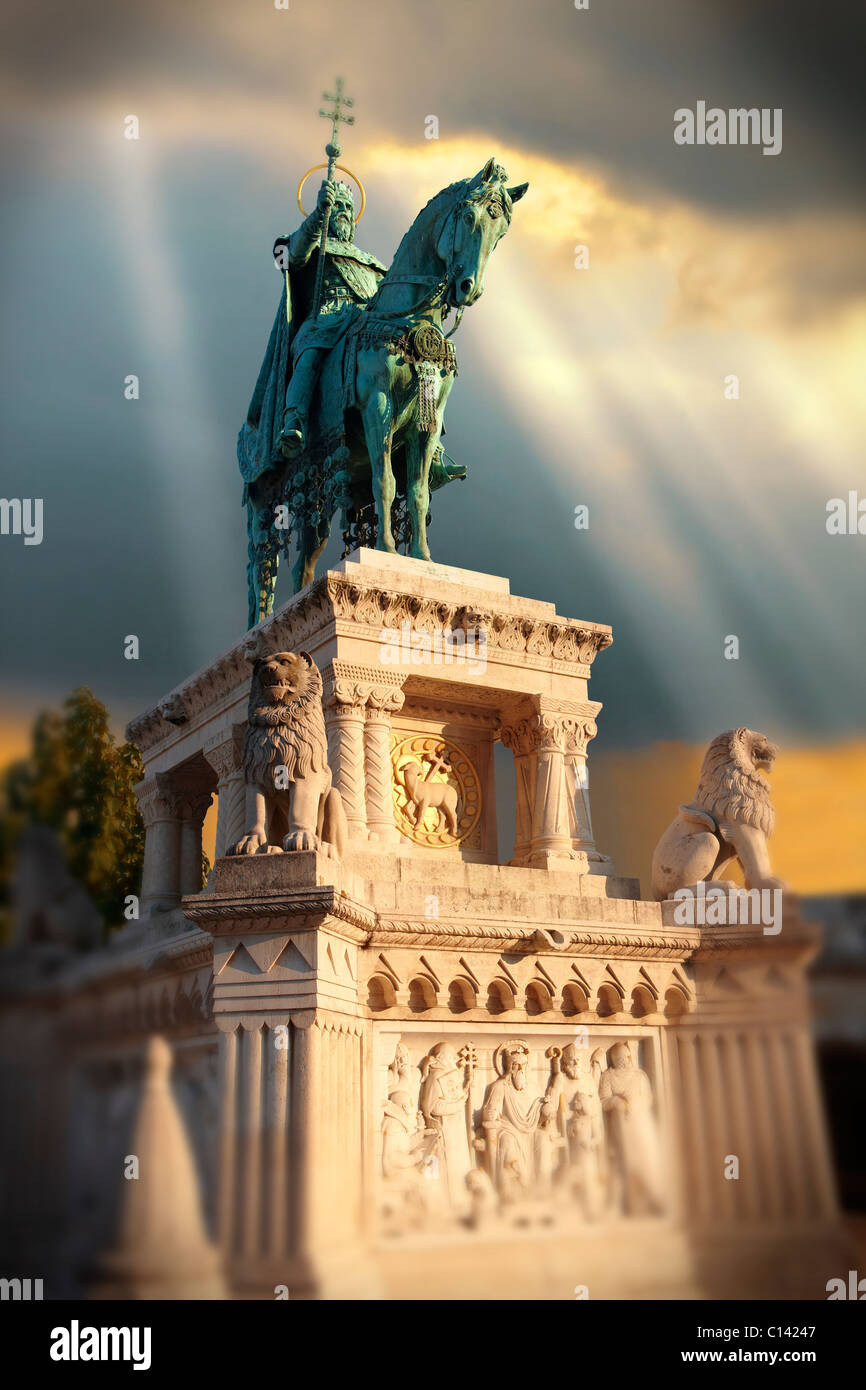 Statue of King Istvan ( Stephan ) - Fisherman's Bastion - Castle District, Budapest, Hungary - Stock Image