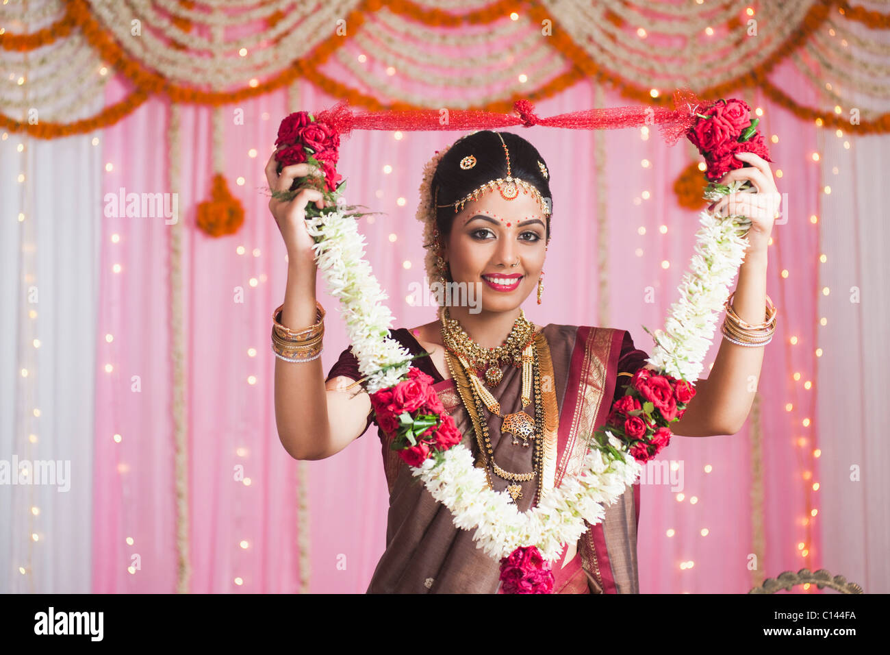 Portrait Of A Bride In Traditional South Indian Dress