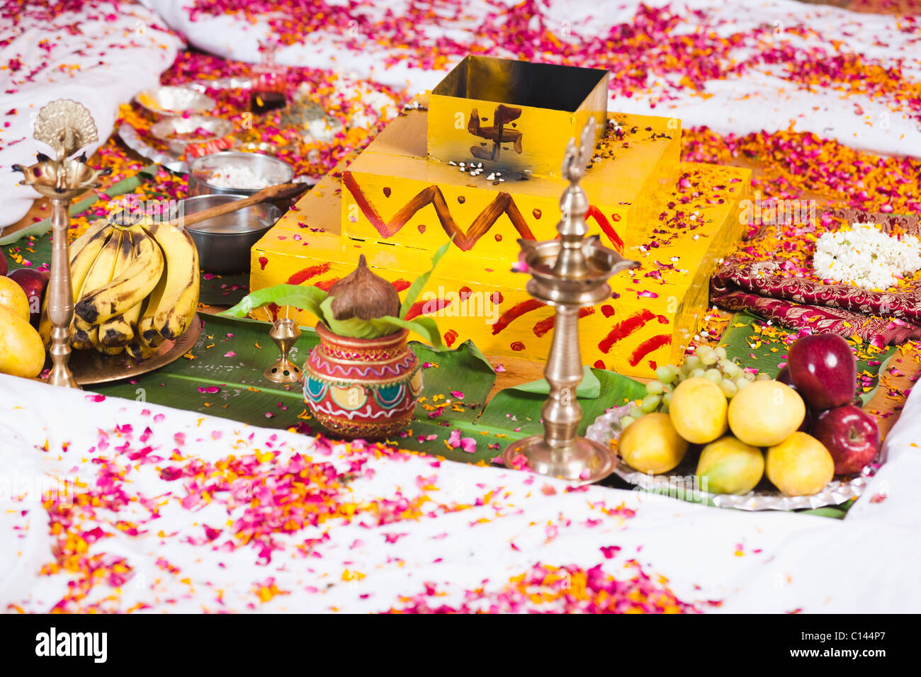 High Angle View Of A Havan Kund At The Wedding Mandap During South