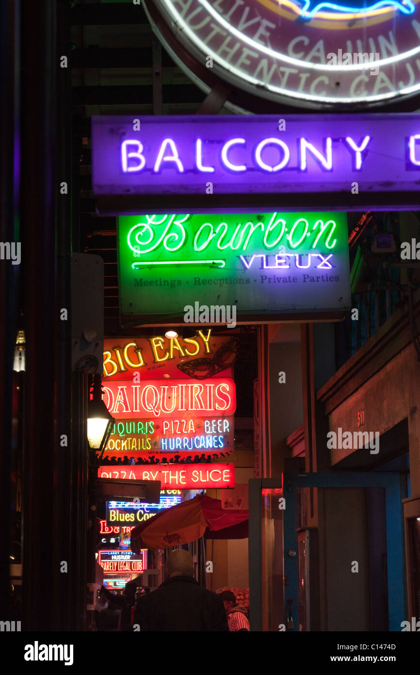 Neon signs for bars and clubs on Bourbon Street in New ...