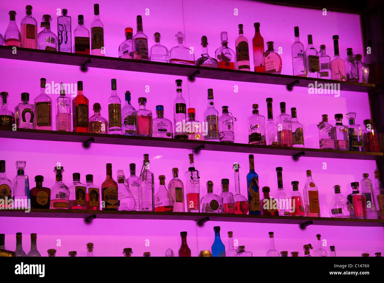 Slick display of glass liquor bottles on shelves with a bright purple glowing background in a bar Stock Photo