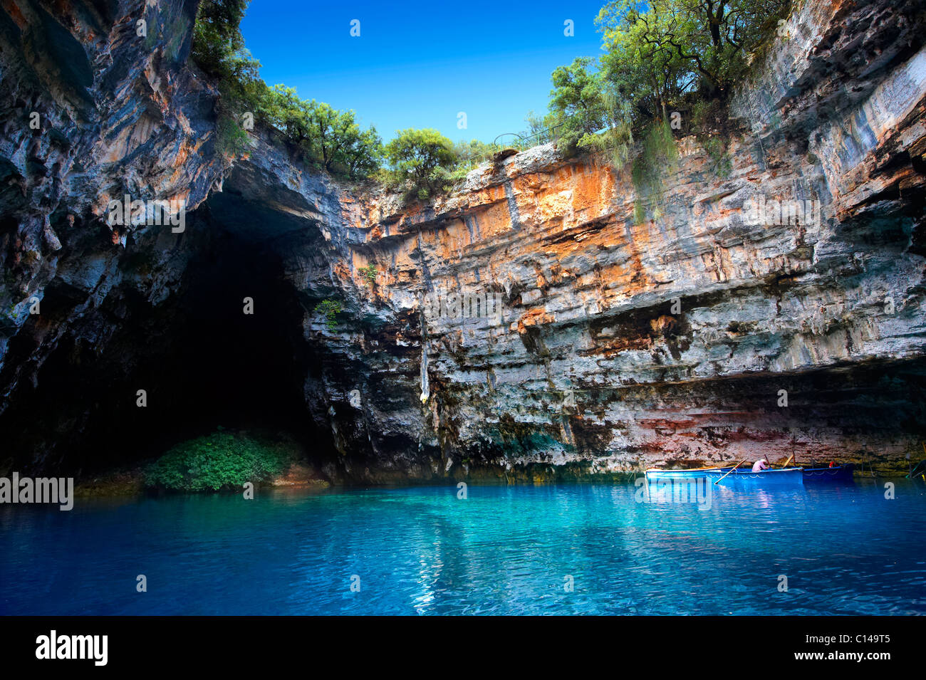 The Lake Melissani. inland cave with sea water, Kefalonia, Ionian Islands, Greece. - Stock Image
