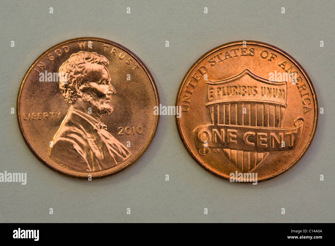 Redesign of the 2010 U.S. 1 Cent Coin showing obverse and reverse. - Stock Image