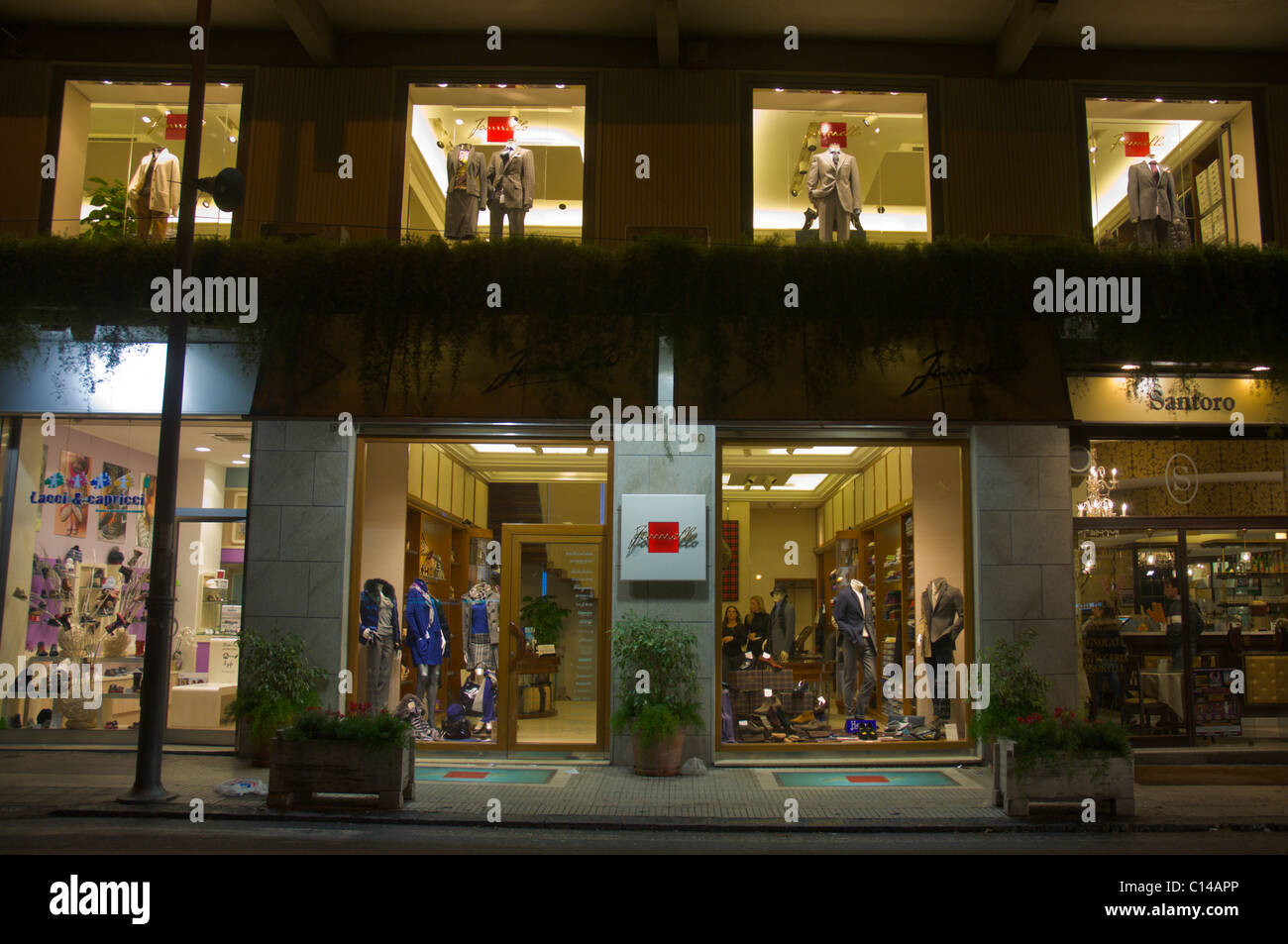 80d4b924a4ae Shops in the evening at Piazza Cairoli main square central Messina city  Sicily Italy Europe