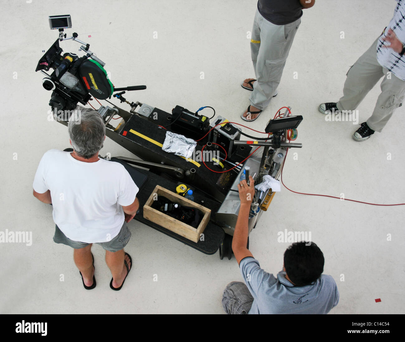 film crew on a shoot - Stock Image