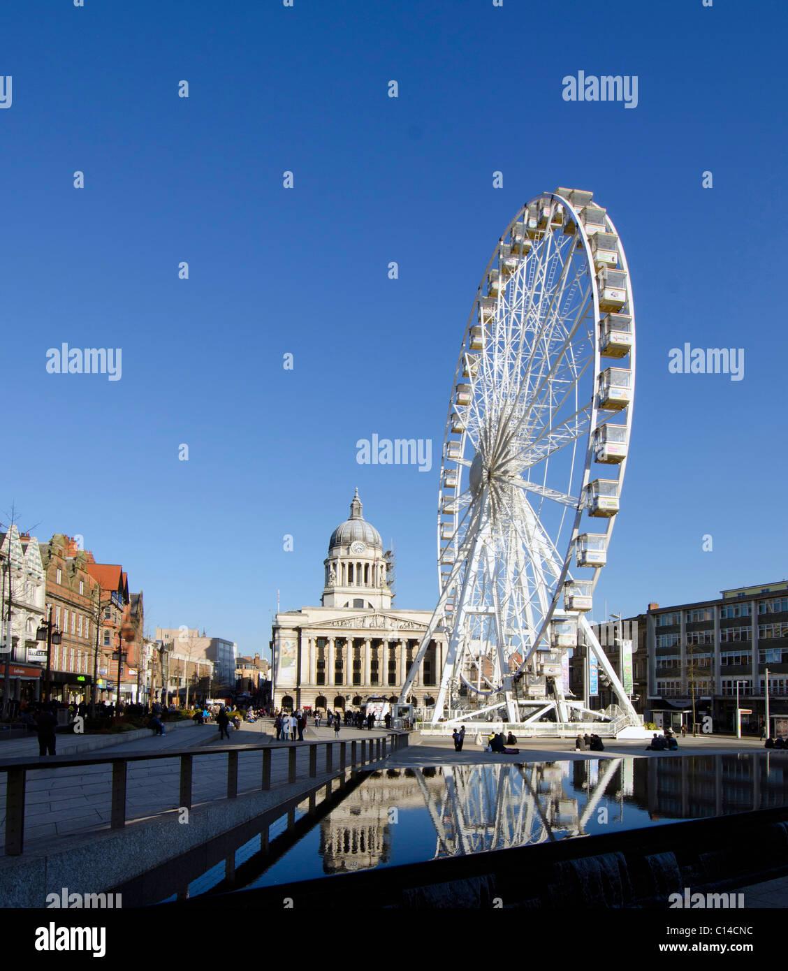 Ferris Wheel in the Old Market Square, Nottingham, England, UK - Stock Image