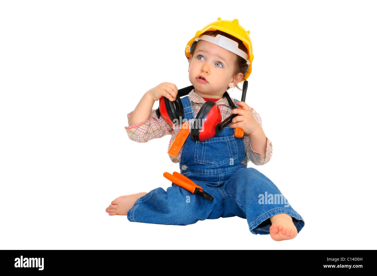 03314e814d5 Baby worker with hat and tools isolated in white Stock Photo ...