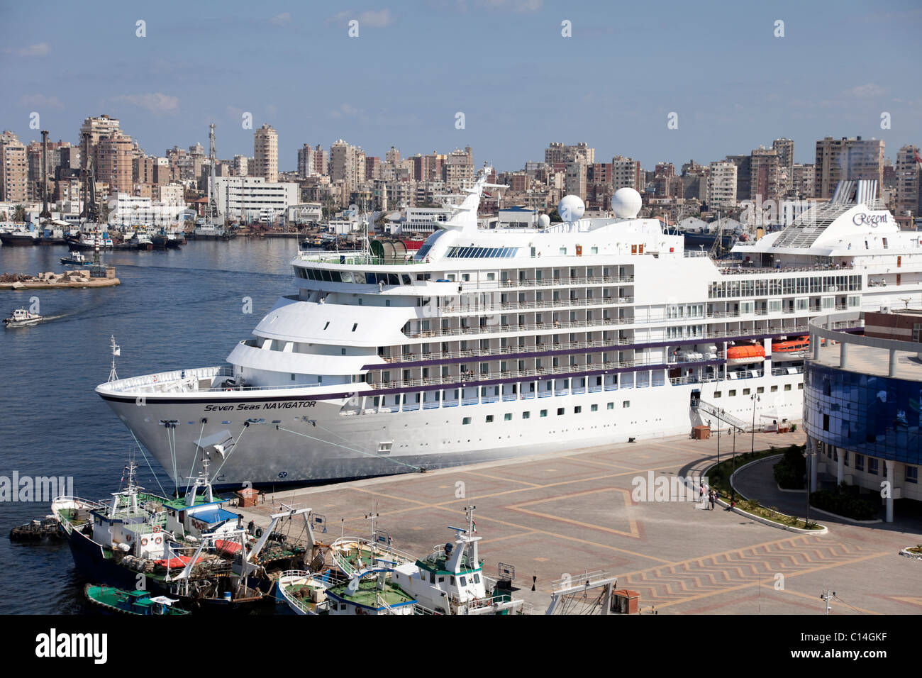 The cruise ship Seven Seas Navigator in the west harbor of Alexandria in Egypt. - Stock Image
