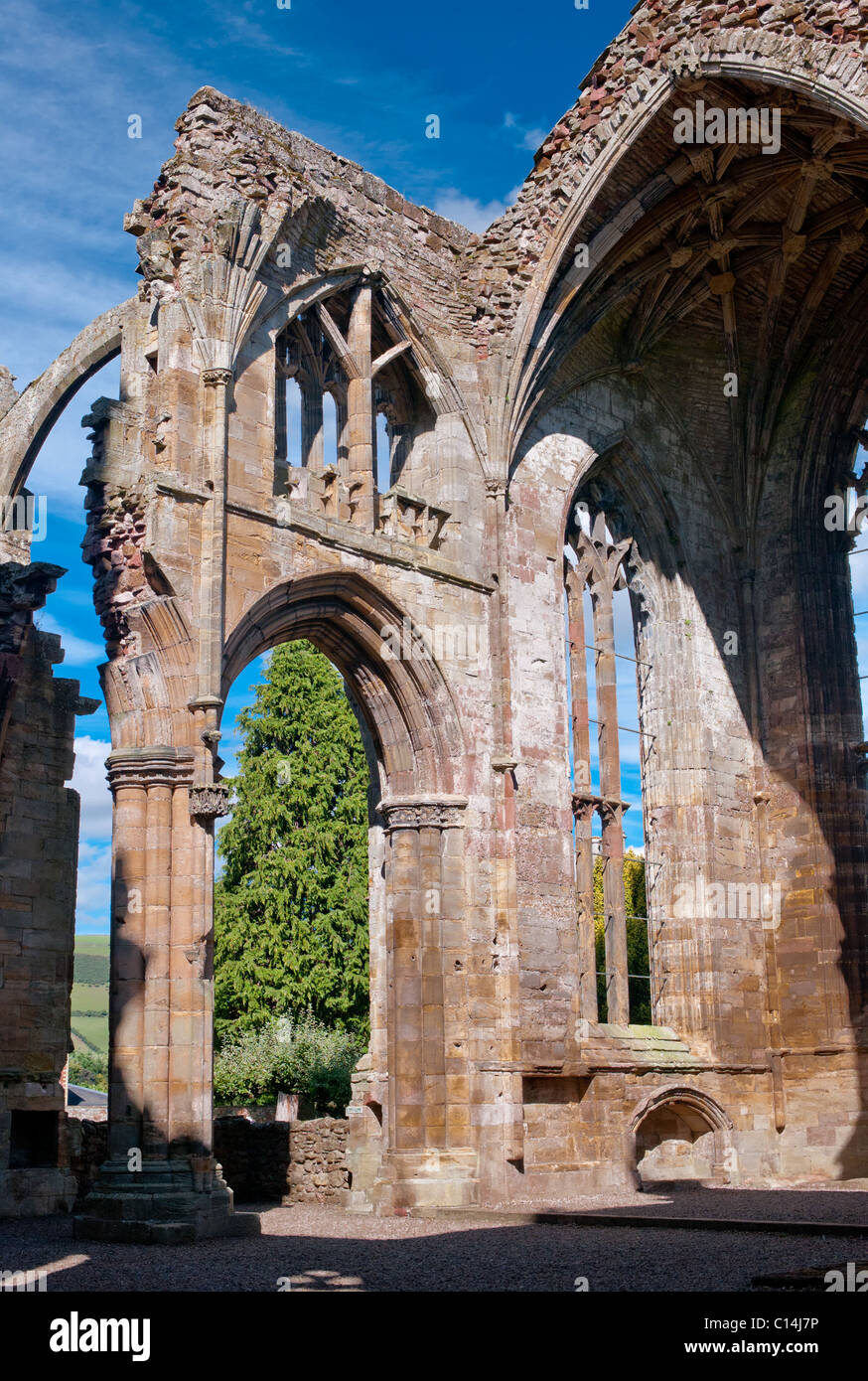 MELROSE ABBEY SCOTLAND UNITED KINGDOM - Stock Image