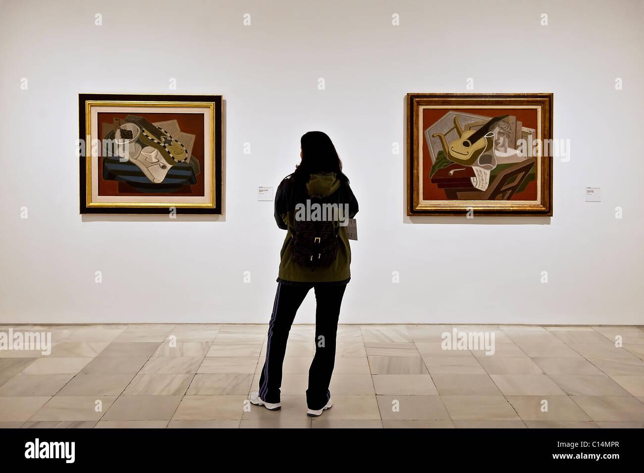 Juan Gris paintings in the Reina Sofia museum, Madrid, Spain - Stock Image