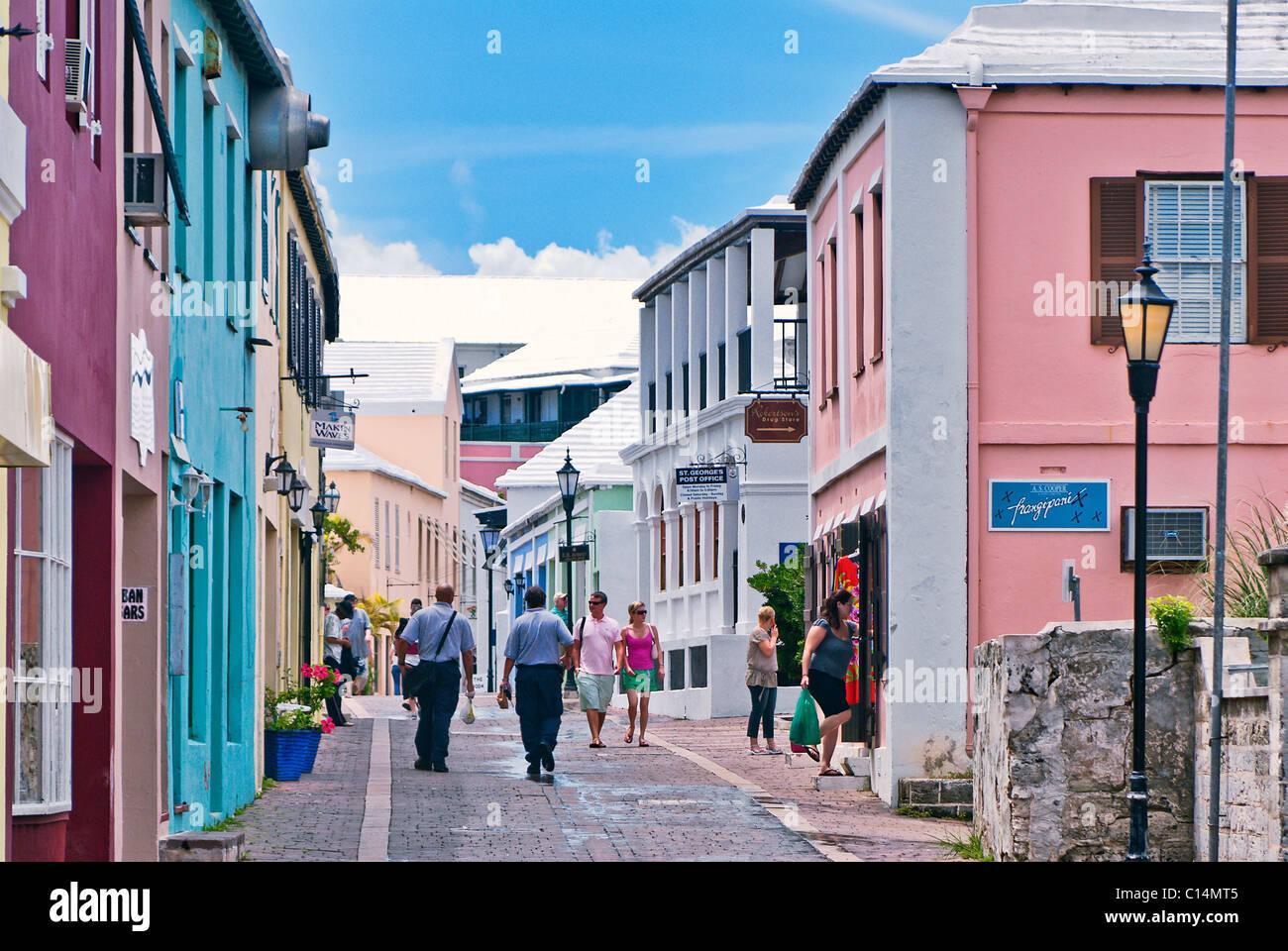 Quaint streets of St George Parish, Bermuda - Stock Image