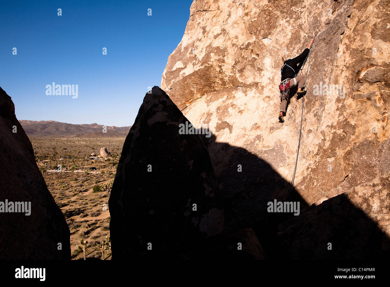 A male climber works his way up past the first bolt on Cryptic (5.8) on Headstone Rock in Joshua Tree National Park, - Stock Image