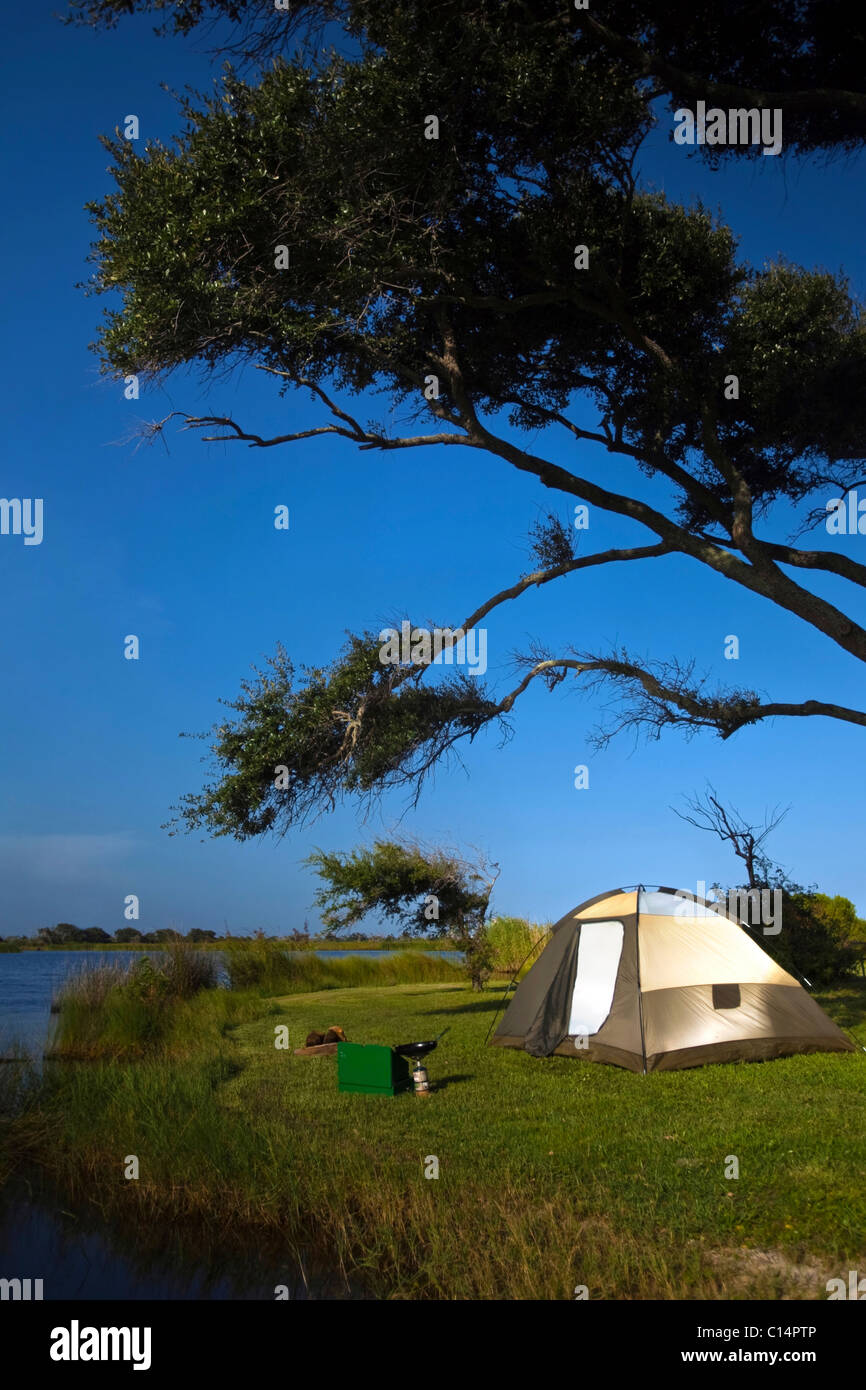 Campsite on the banks of Shelby Lakes in Gulf Shores, Alabama. Stock Photo