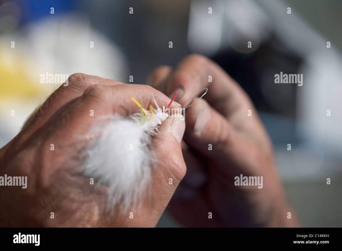 A close-up view of hands tying a fly to fishing line. Stock Photo