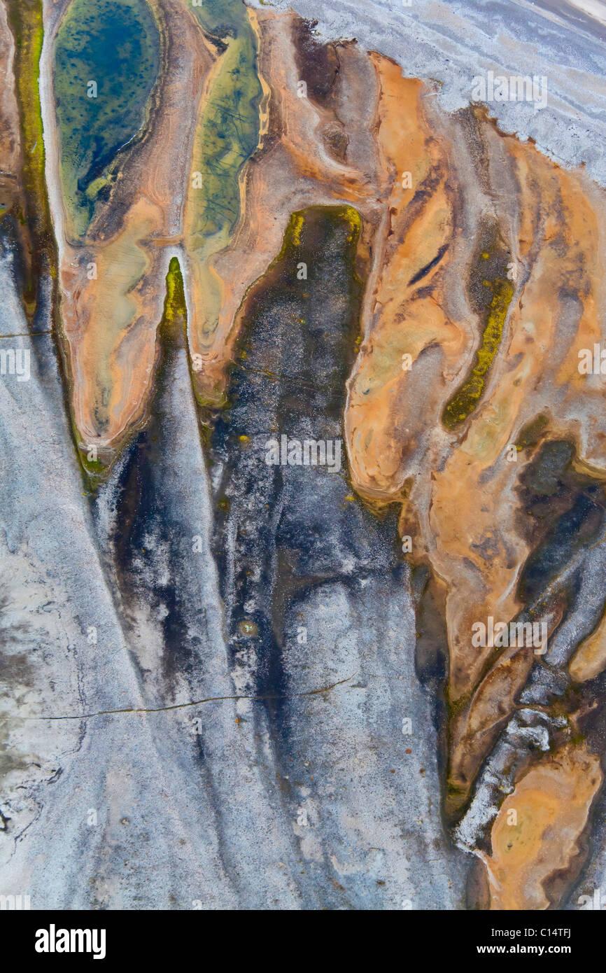 Aerial landscape of Bathurst Bay, Bylot Island, Nunavut, Canada. - Stock Image