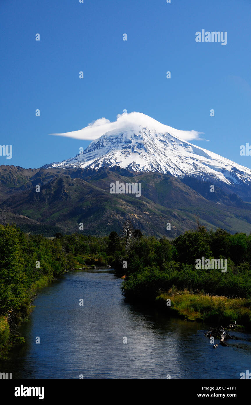 Snow-covered Lanin Volcano in Patagonia Argentina - Stock Image