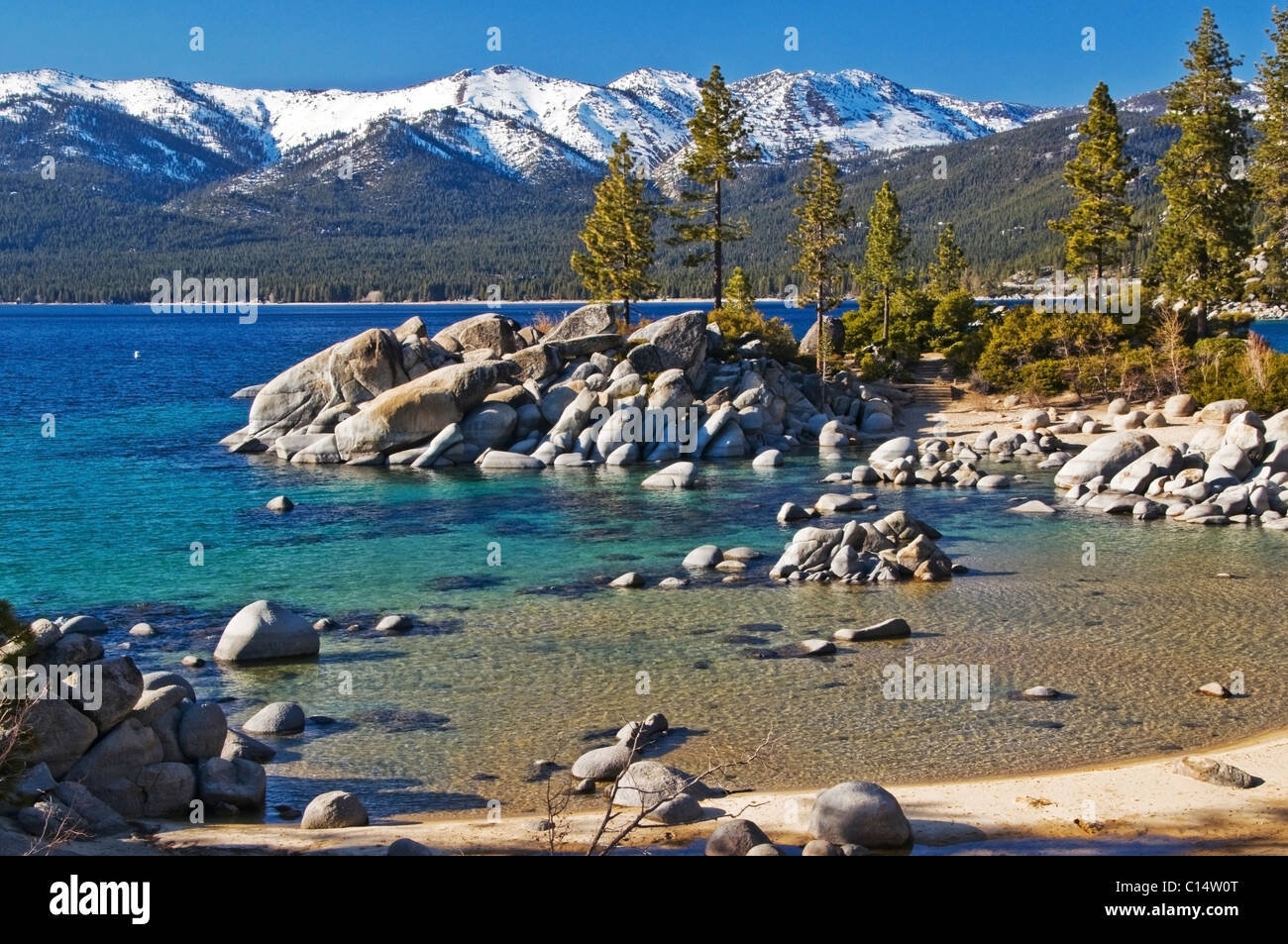 Divers Cove at Sand Harbor on the east shore of Lake Tahoe in the summer, NV - Stock Image