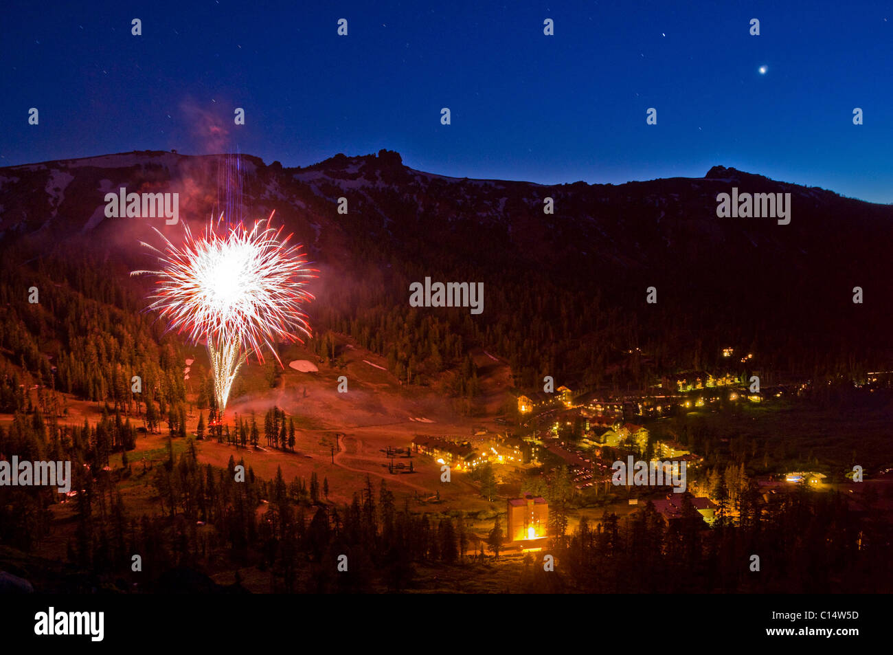 Summer fireworks illuminate the Kirkwood valley at Kirkwood Mountain Resort, California. - Stock Image
