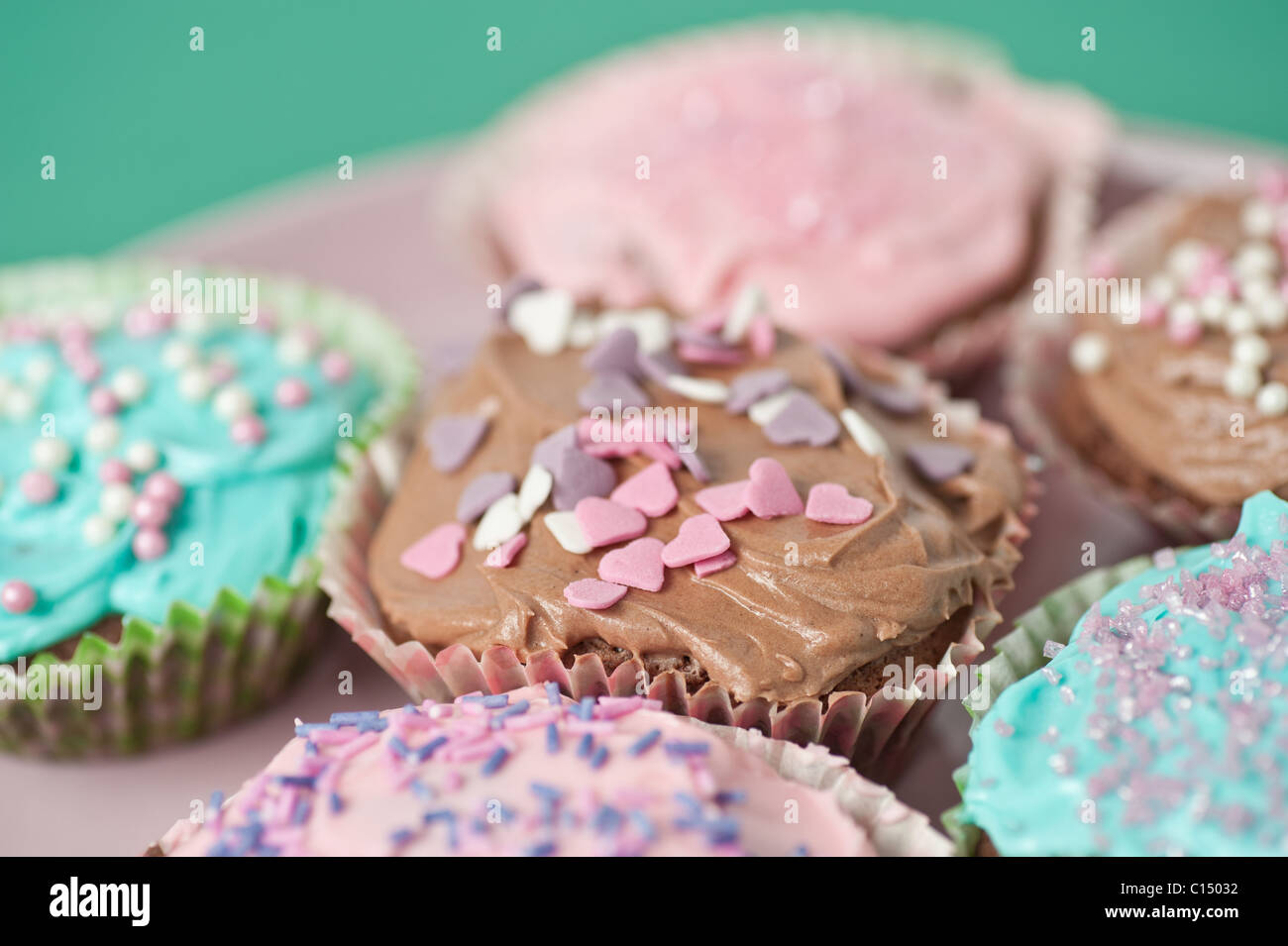 Closeup on cupcakes - Stock Image