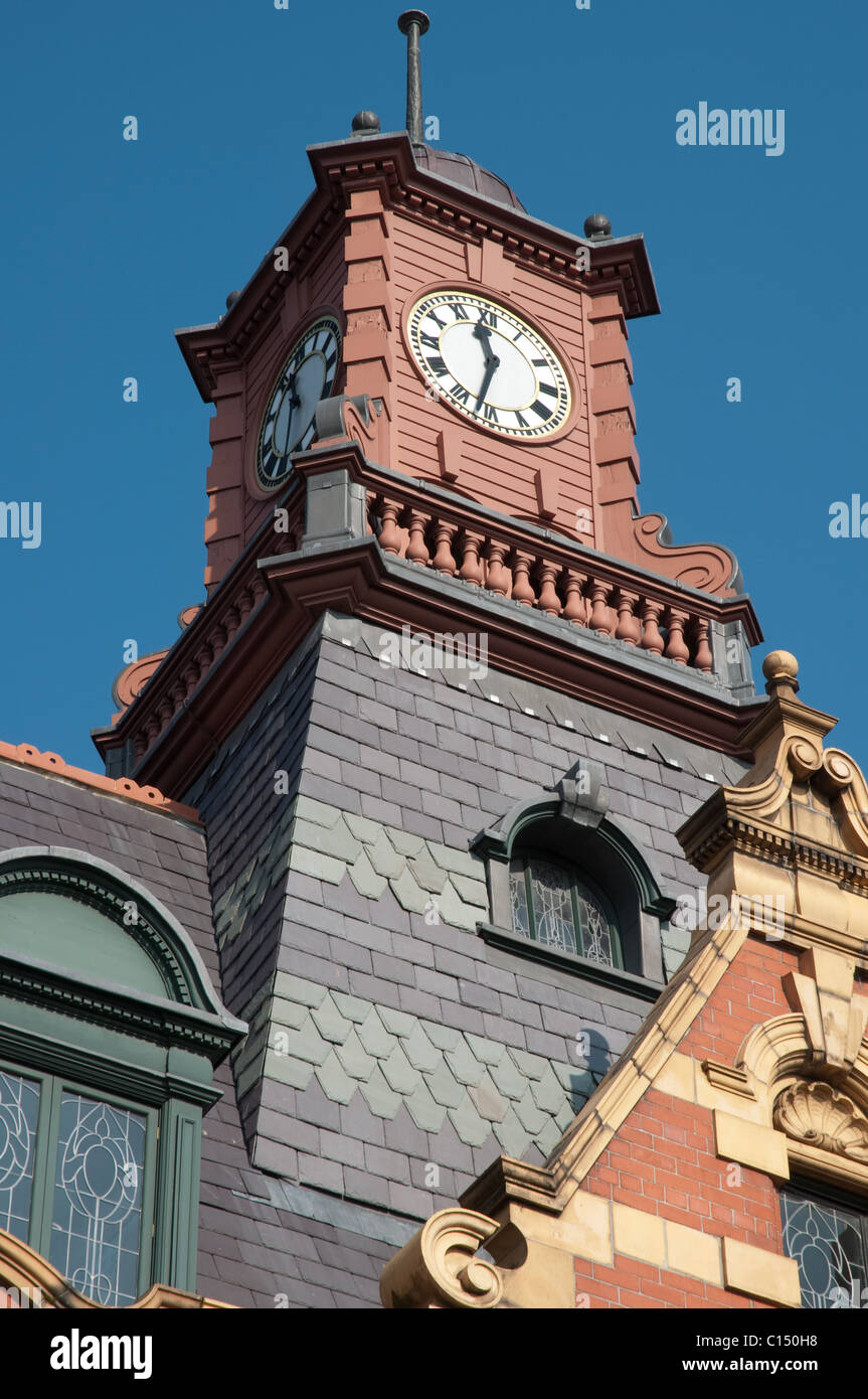 Restored clock tower,Victoria Baths,Manchester.Grade II* listed, opened in 1906, closed in 1993 now undergoing restoration. - Stock Image