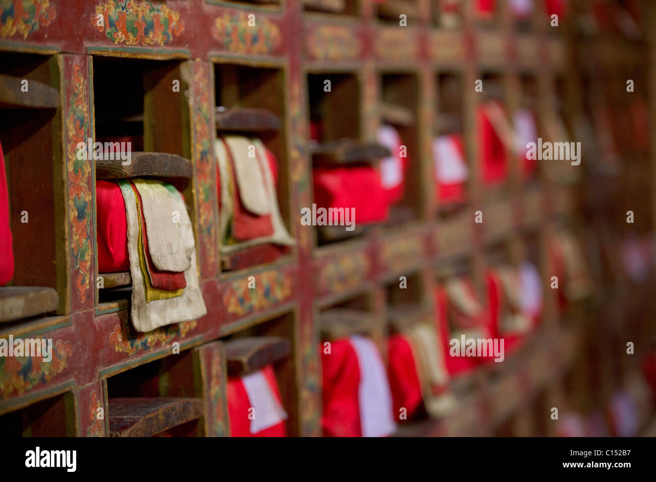 Tibetan prayer books, Leh Palace, Leh, (Ladakh) Jammu & Kashmir, India - Stock Image