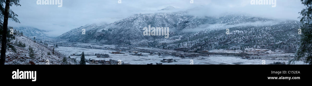 Panoramic view of the Paro Valley in Bhutan immediately after a snow storm over the Himalaya Mountains - Stock Image