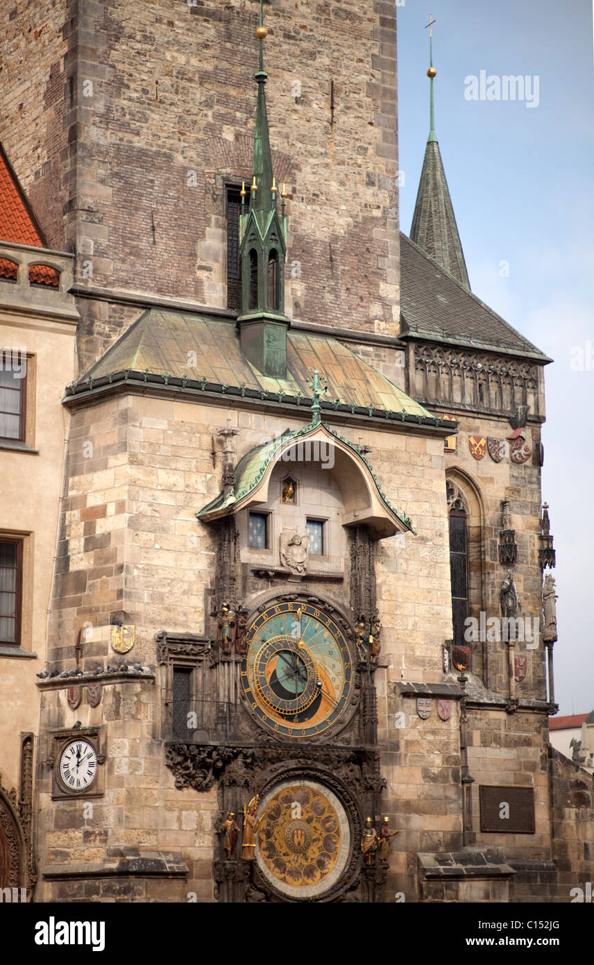 Prague Astronomical clock in the Old square - Stock Image