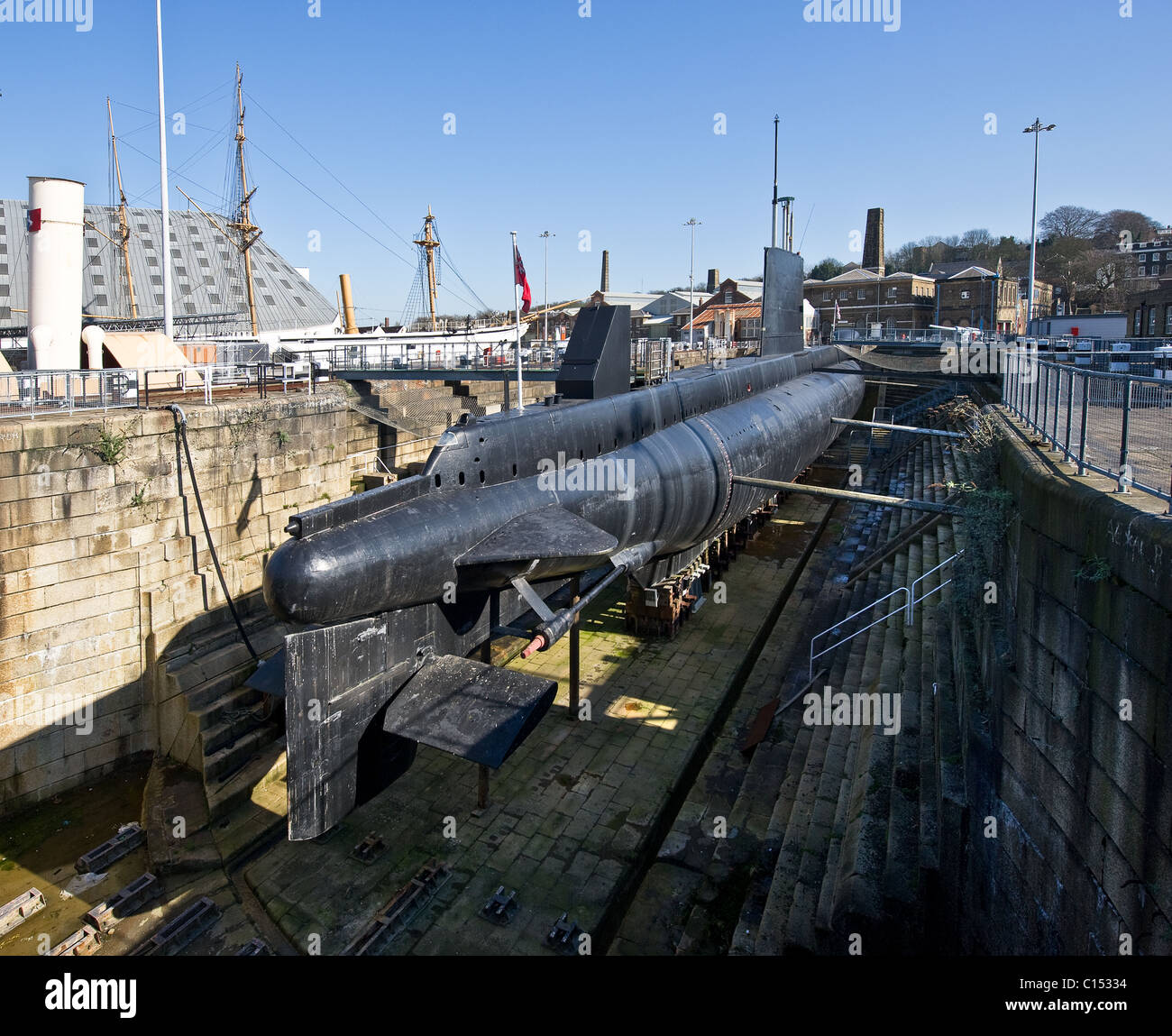 HM Submarine Ocelot in her dock at Chatham Historic Dockyard in Kent. - Stock Image