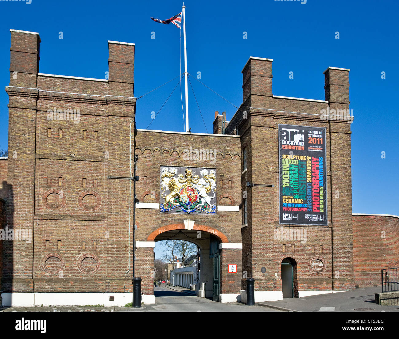 The entrance to Chatham Historic Dockyard in Kent.  Photograph by Gordon Scammell - Stock Image