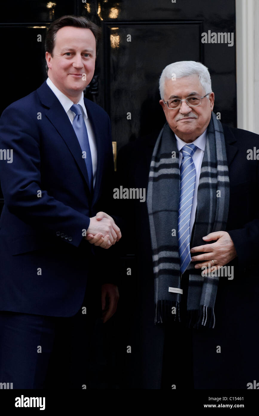 Prime Minister David Cameron meets the President of the Palestinian National Authority, Mahmoud Abbas at 10 Downing Stock Photo