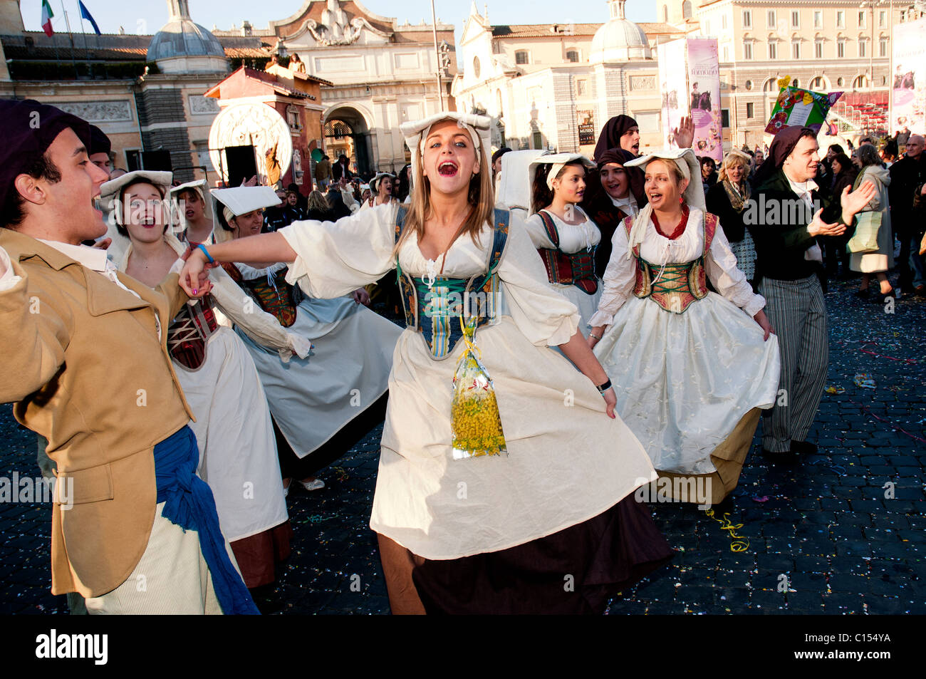 Traditionally dressed revellers at the carnival in Rome, Italy - Stock Image