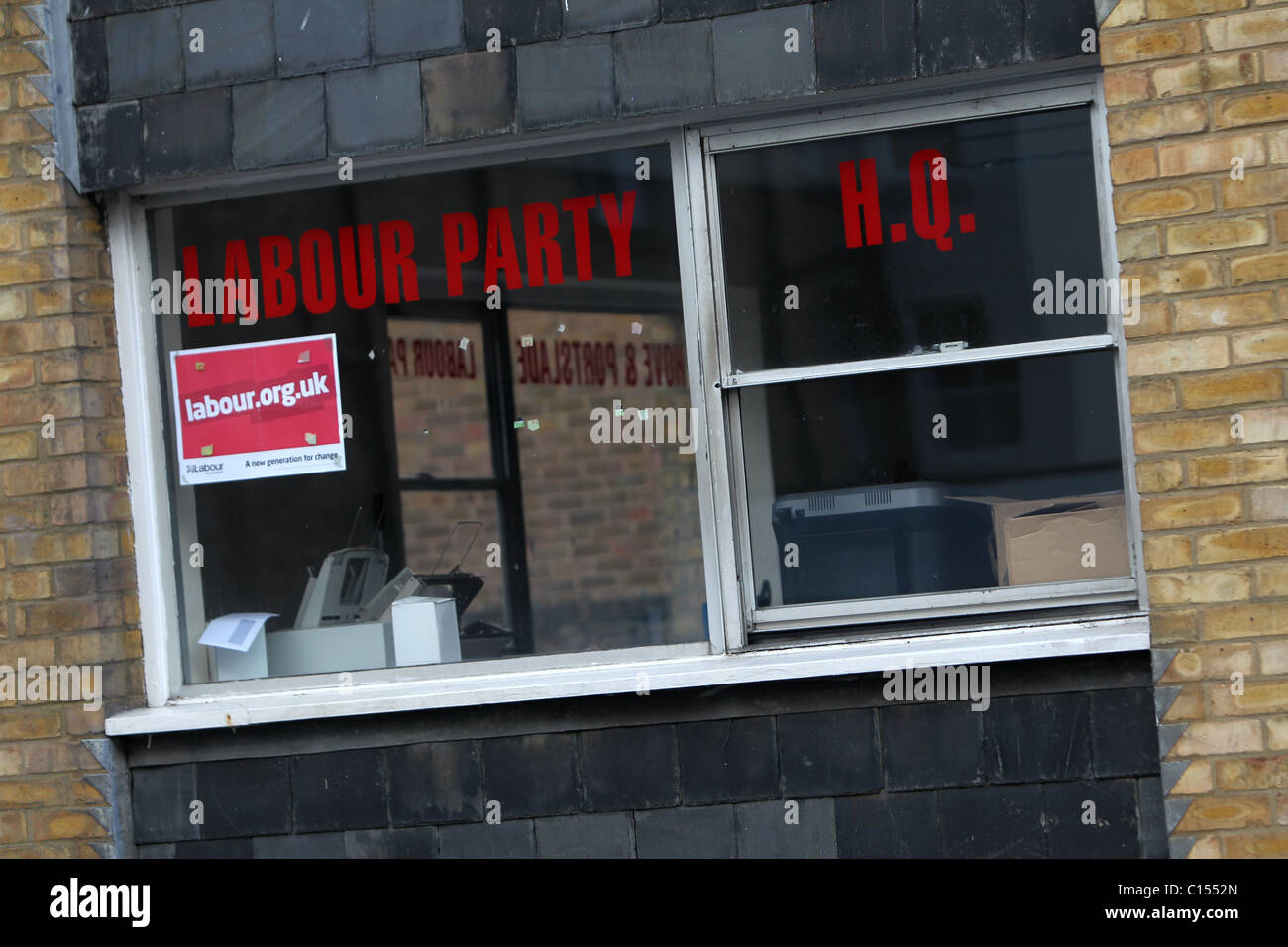 Labour Party HQ window, Hove, East Sussex, UK. - Stock Image