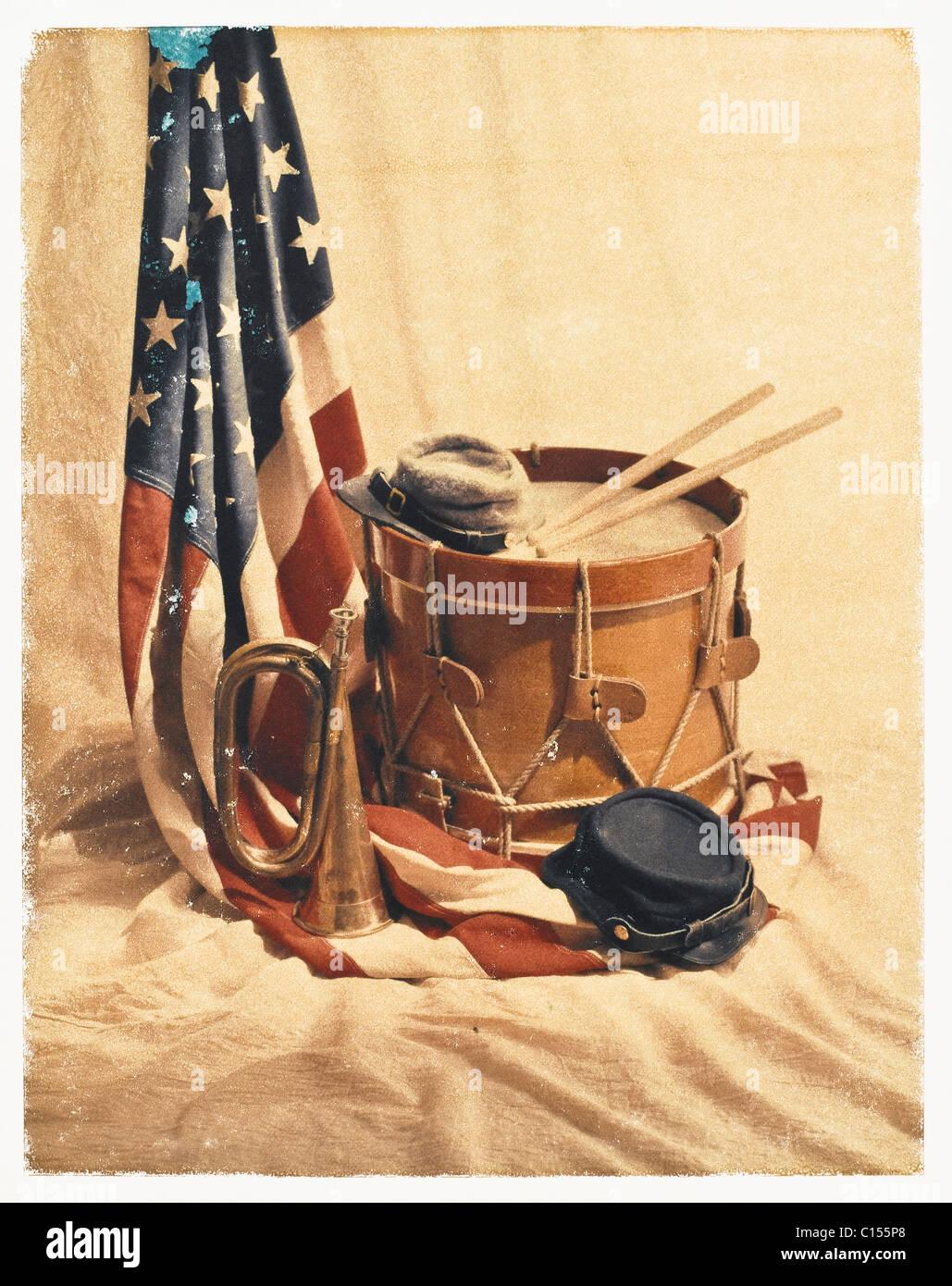 Still-life of civil war artifacts. - Stock Image