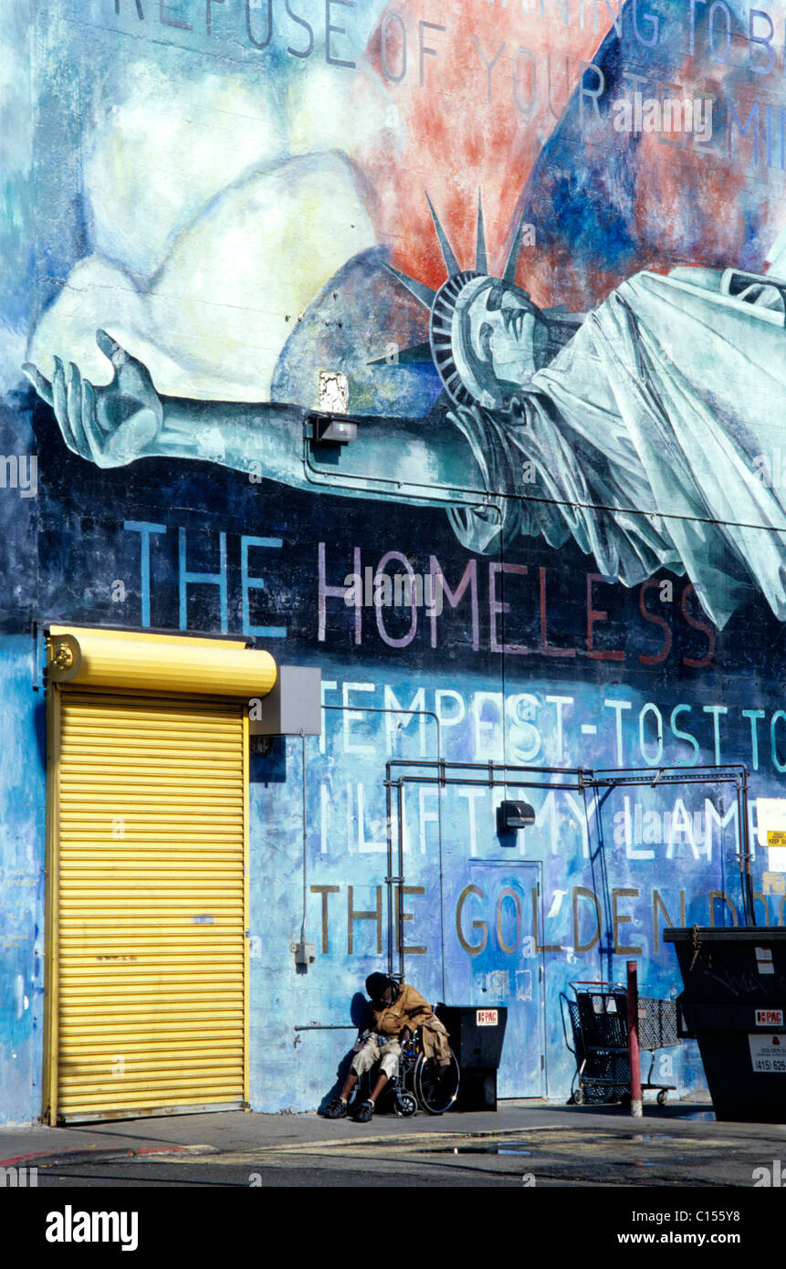 Liberty Sleeps >> Homeless Handicapped Man In Wheelchair Sleeps Under Grafitti Mural
