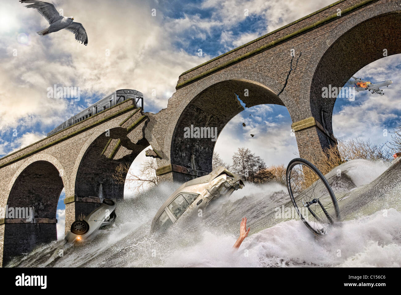End of the world CGI flood - Stock Image