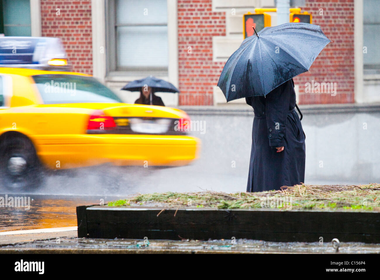 Raining on the Upper East Side, Manhattan, New York City - Stock Image