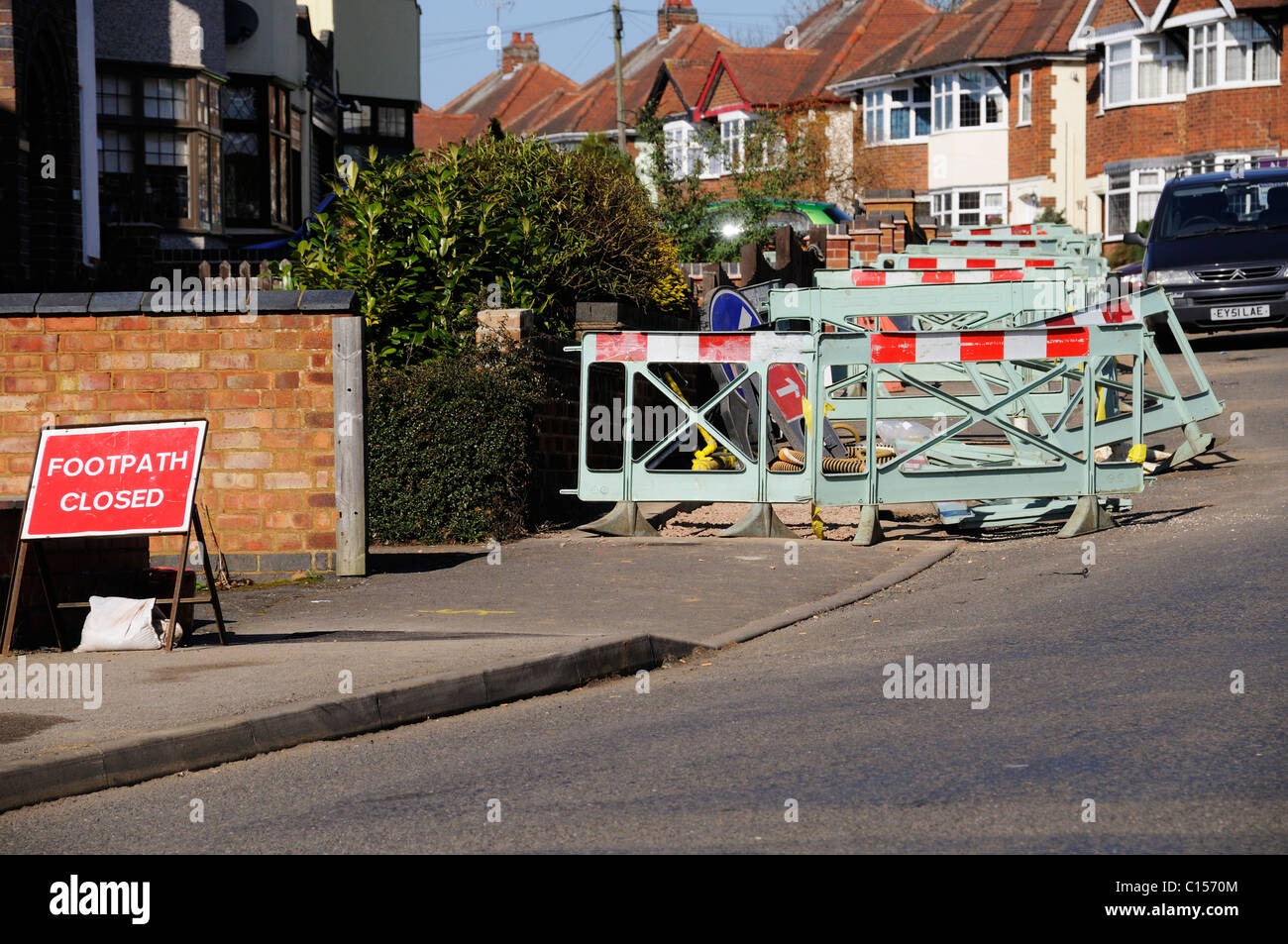 Footpath closed and blocked off during gas main repairs in Hinckley Leicestershire Stock Photo