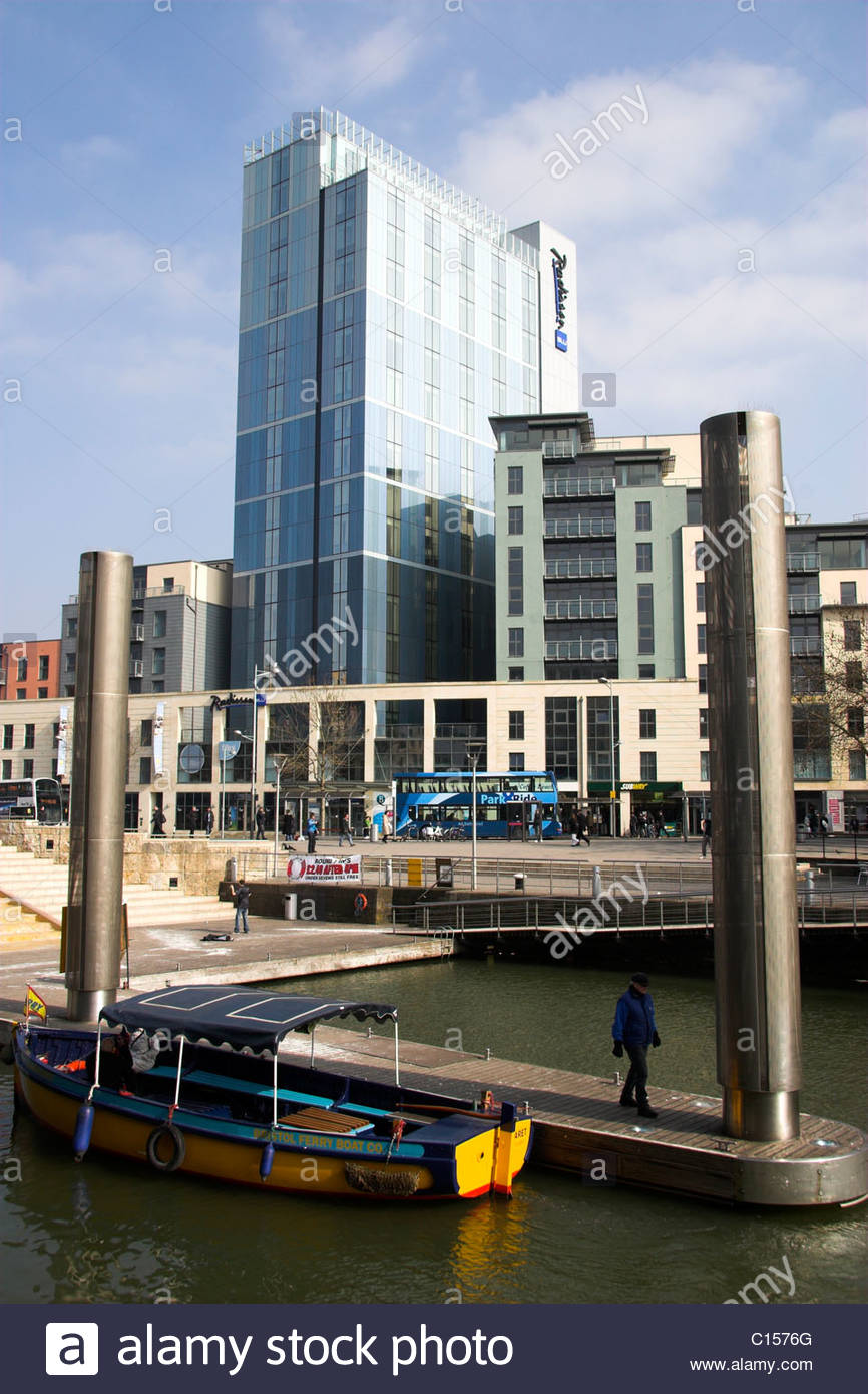 The Radisson Blu Hotel in central Bristol, with a ferry bus in the foreground, UK. - Stock Image