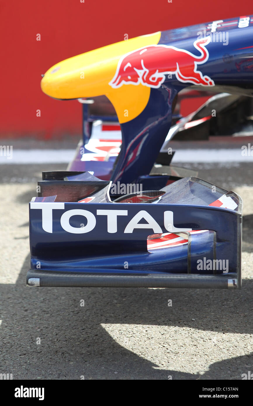 Nose cone and front wing on a Red Bull racing team Formula One car - Stock Image