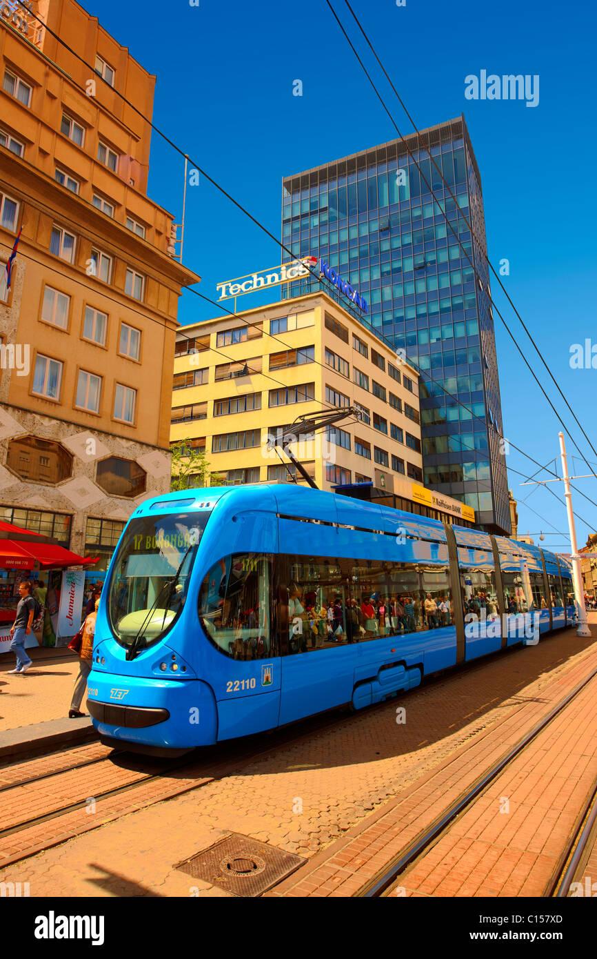Modern tram in the Square of Ban Josip Jelačić, Zagreb, Croatia - Stock Image