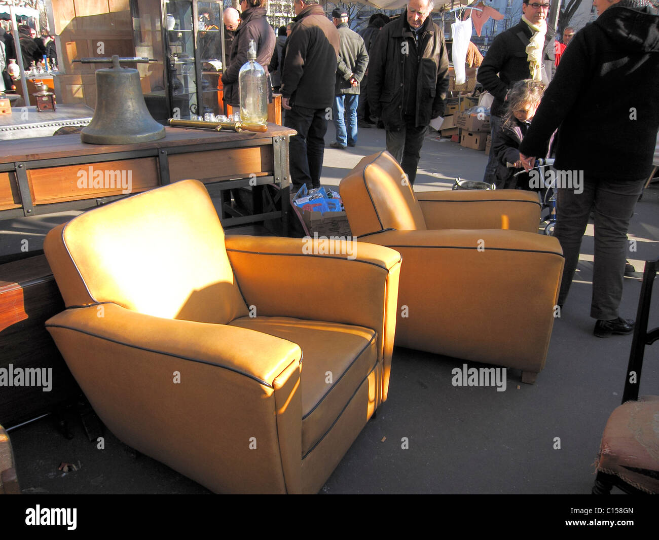 Paris, France, Chairs on Street, Shopping in French Flea Market, Antique Furniture  Street Vendor - Stock Image