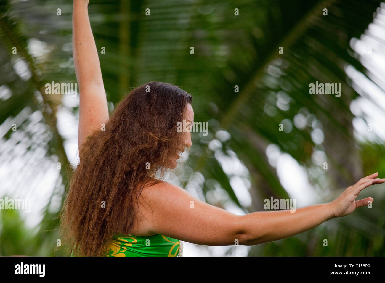 Traditional kahiko hula dancer with at hula performance in Kona, Hawaii. (MR) - Stock Image
