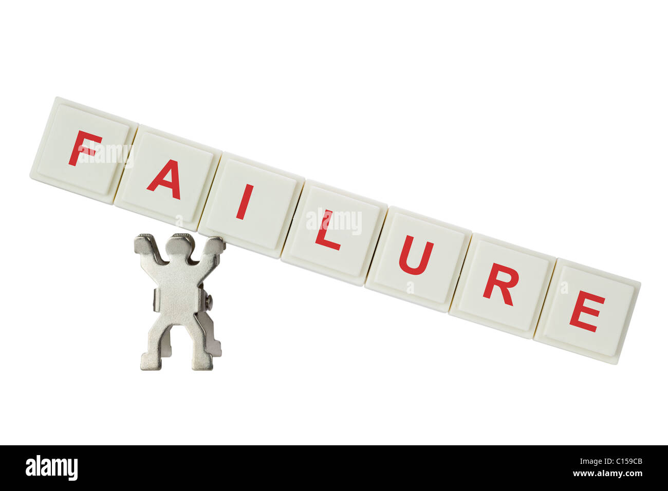 Figurine with failure isolated on white background - Stock Image