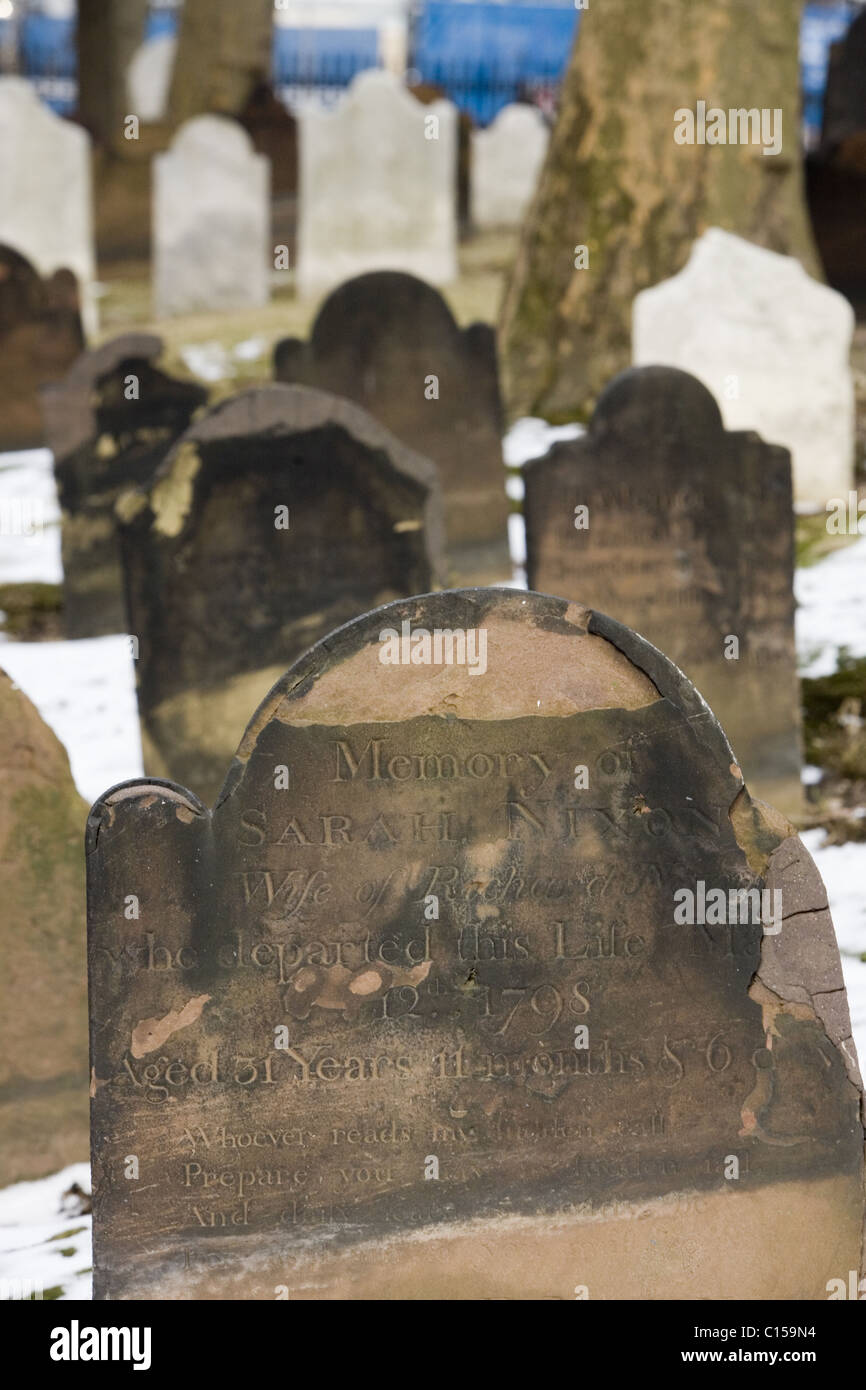 Old cemetery at Saint Paul's Church with grave markers going back to the 18th century. Stock Photo