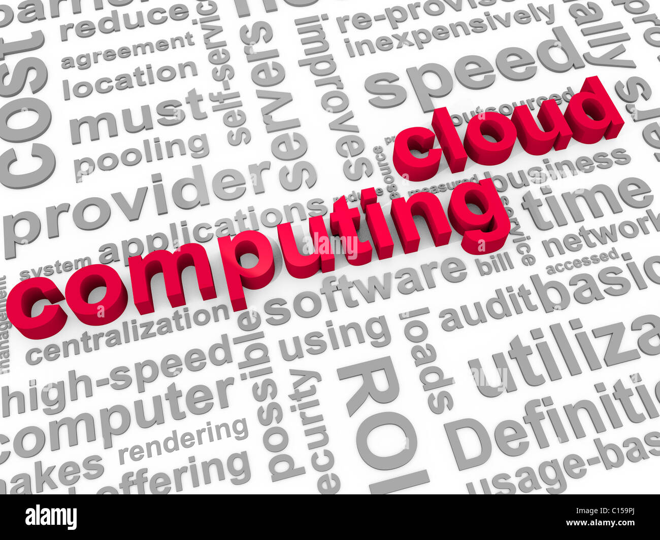 The Words Cloud Computing surrounded by relevant phrases - Stock Image