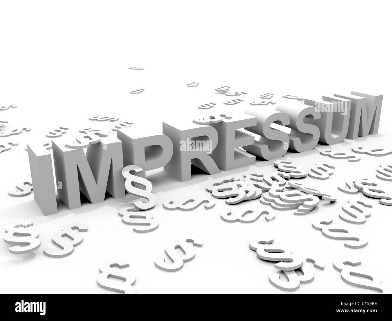 The Word Impressum surrounded by Paragraph signs § - Stock Image